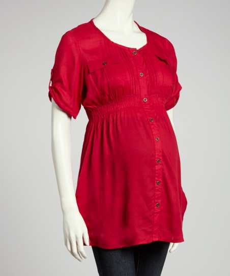Vivacious Maternity Button-Up Tunic - Women