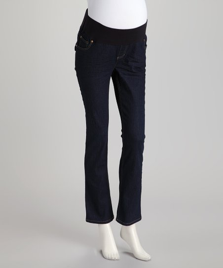 Dark Wash Flap Pocket Under-Belly Maternity Cropped Jeans