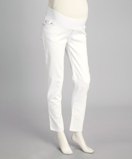 White Twill Under-Belly Maternity Skinny Pants