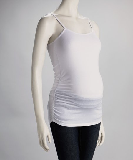 White Ruched Maternity Camisole