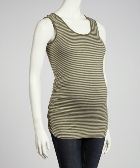 Olive & Heather Gray Stripe Ruched Maternity Tank