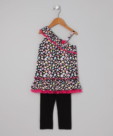 Black & Pink Leopard Tunic & Leggings - Infant