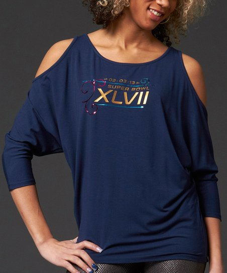 Navy 'XLVII' Cutout Top