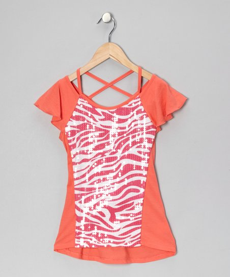 Pink &amp; White Sequin Zebra Top