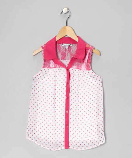 White & Fuchsia Polka Dot Button-Up - Girls