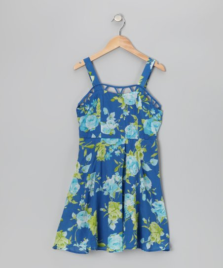 Blue & Lime Floral Dress