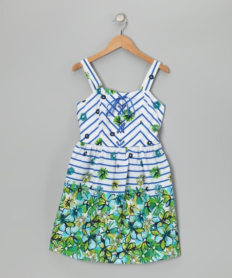Blue &amp; Lime Stripe Floral Dress