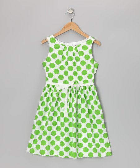 White & Lime Polka Dot Dress