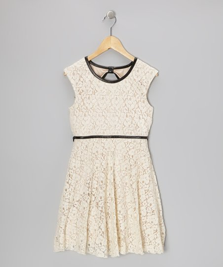Ivory Floral Lace Dress - Girls