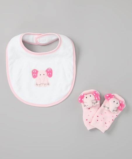 Pink Elephant Bib &amp; Socks