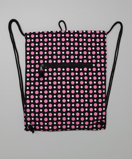 Black & Pink Polka Dot Cinch Backpack