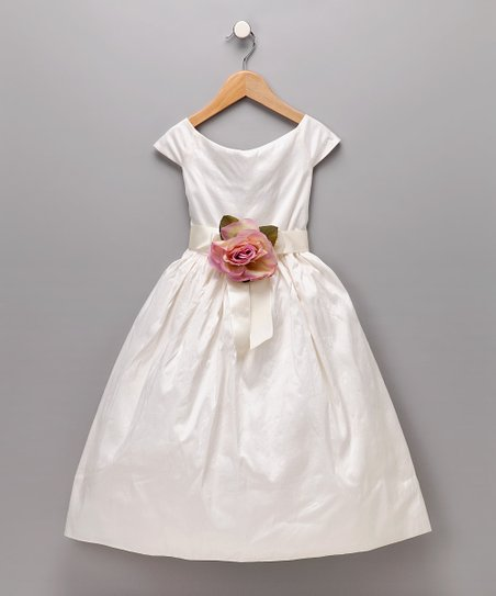 Ivory & Pink Silk Flower Dress - Girls