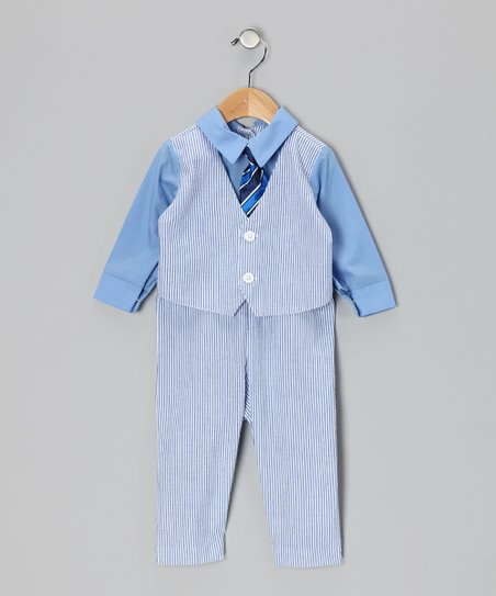 Blue & White Seersucker Suit Bodysuit - Infant