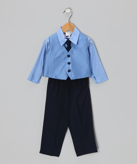 Blue & Navy Vest Set - Infant & Toddler