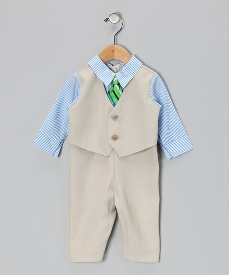 Khaki & Blue Stripe Suit Bodysuit - Infant