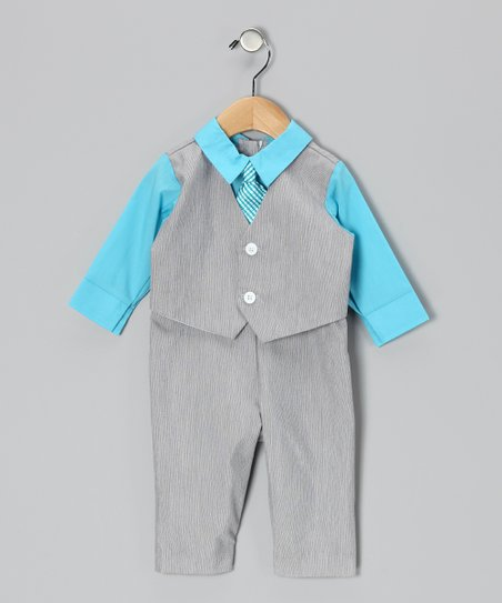 Gray & Blue Suit Bodysuit - Infant
