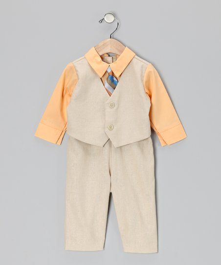 Khaki & Orange Suit Bodysuit - Infant