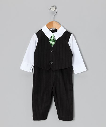 Black &amp; White Suit Bodysuit - Infant