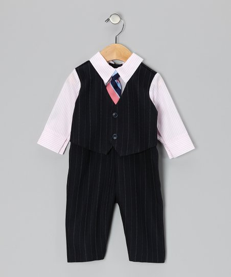 Navy &amp; Pink Suit Bodysuit - Infant