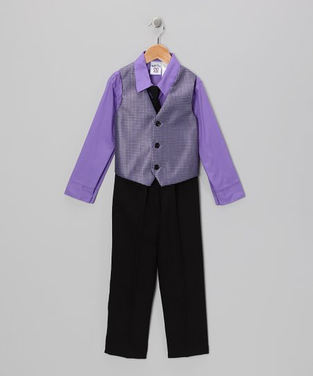 Lilac & Black Vest Set - Infant & Boys