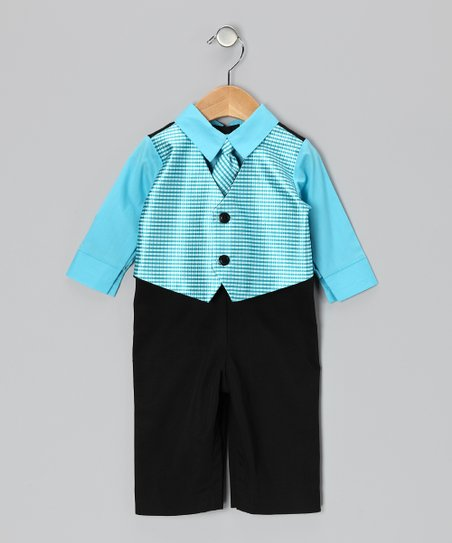 Tiffany Blue & Black Suit Bodysuit - Infant