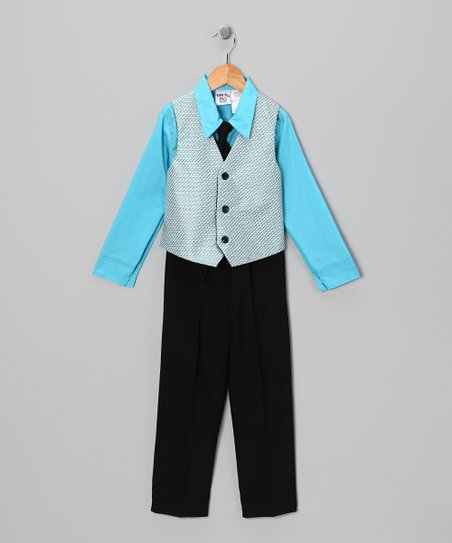 Blue &amp; Black Vest Set - Boys