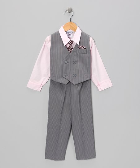 Gray & Pink Vest Set - Toddler & Boys