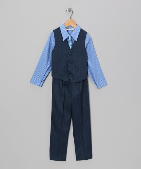 Navy & Blue Vest Set - Boys