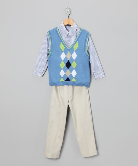 Sail Blue Argyle Sweater Set - Boys