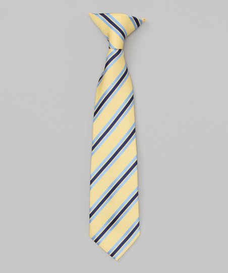 Yellow & Blue Stripe Clip-On Tie