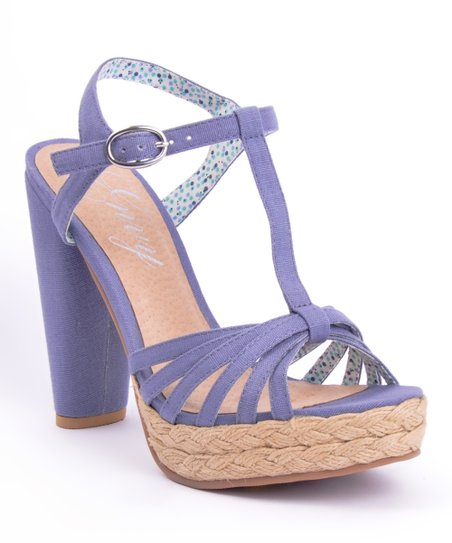 Blue Be Easy T-Strap Sandal