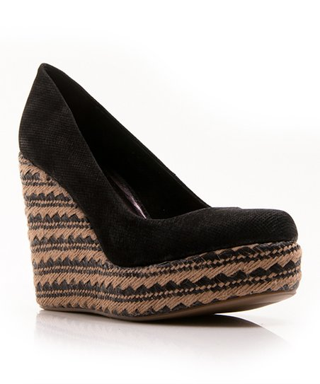 Black Briana Suede Wedge