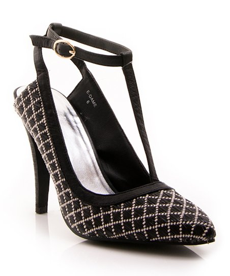 Black Lattice Dame T-Strap Pump