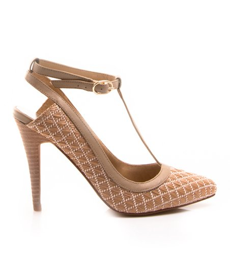 Nude Lattice Dame T-Strap Pump