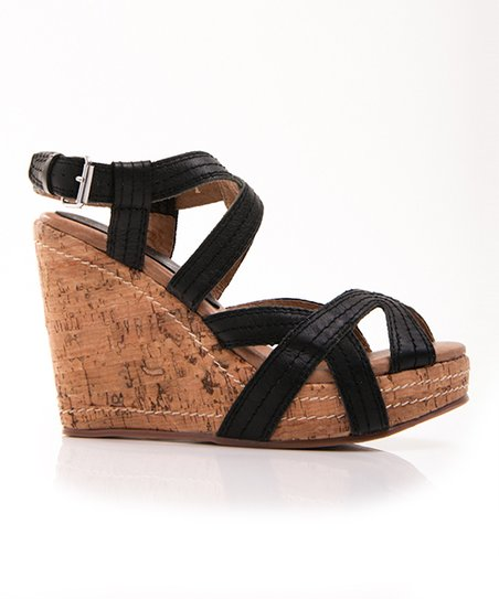 Black Outta Hand Wedge Sandal