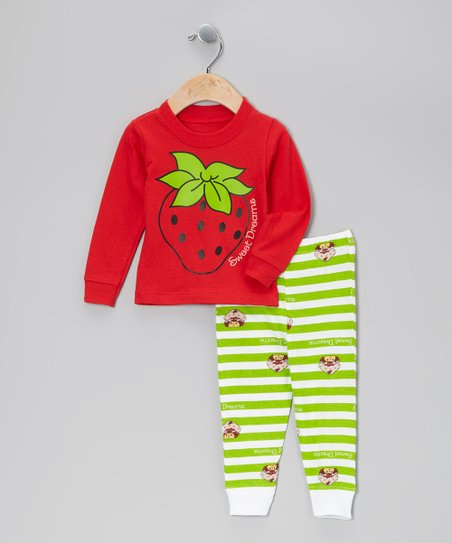 Red & Green Strawberry Pajama Set - Infant & Toddler