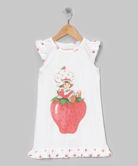 White Strawberry Shortcake Ruffle Gown - Toddler