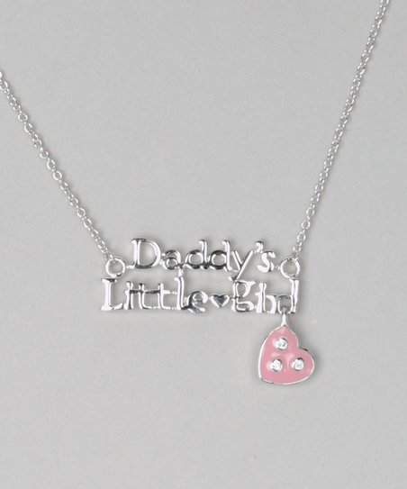 Silver &amp; Pink Daddys Little Girl Necklace