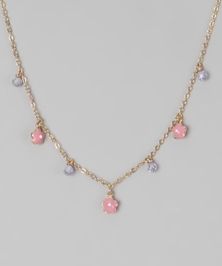 Pink &amp; Lavender Flower Necklace