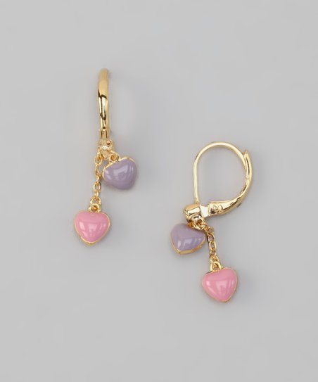 Pink & Purple Heart Earrings