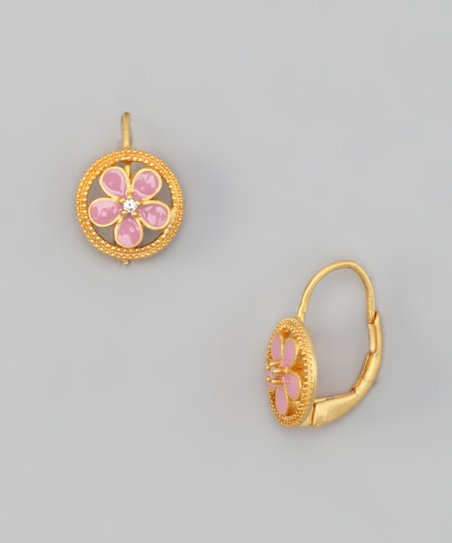 Gold &amp; Pink Flower Circle Earrings