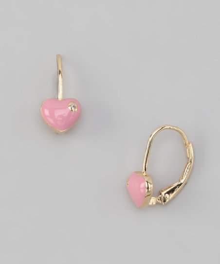 Pink Heart Hoop Earrings