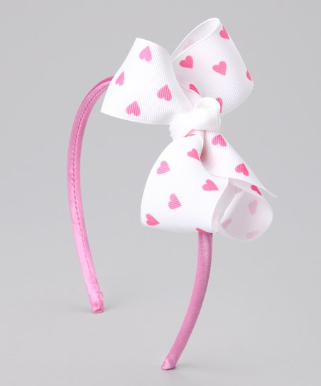 White &amp; Pink Bow Headband