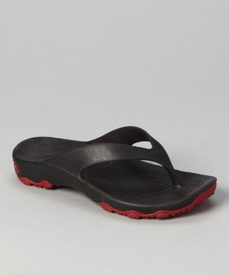 Black & Red Destination Flip-Flop - Kids