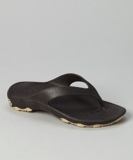 Dark Brown & Tan Destination Flip-Flop - Kids
