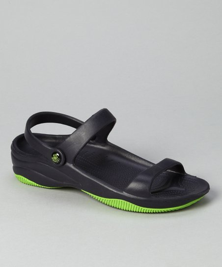 Navy &amp; Lime Green Triple-Strap Sandal - Women