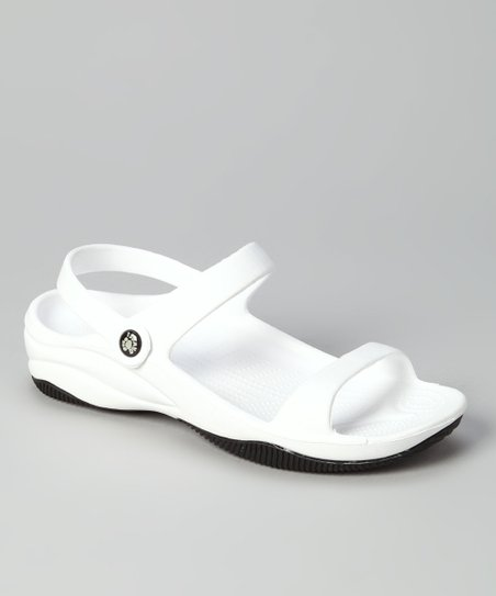 White & Black Triple-Strap Sandal - Women