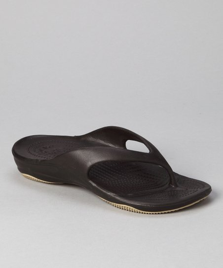 Dark Brown & Tan Flip-Flop - Women