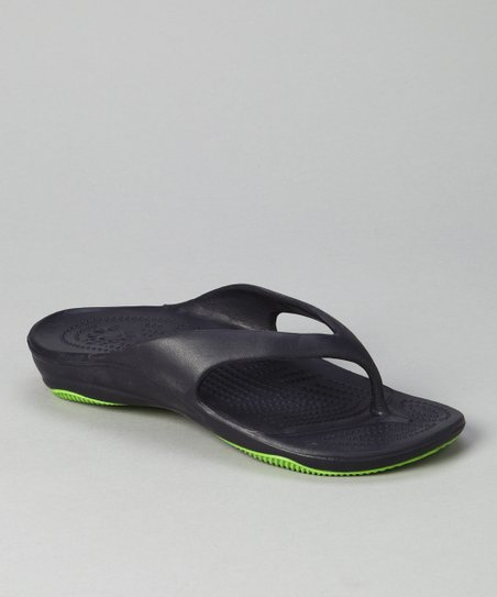 Navy & Lime Green Flip-Flop - Women