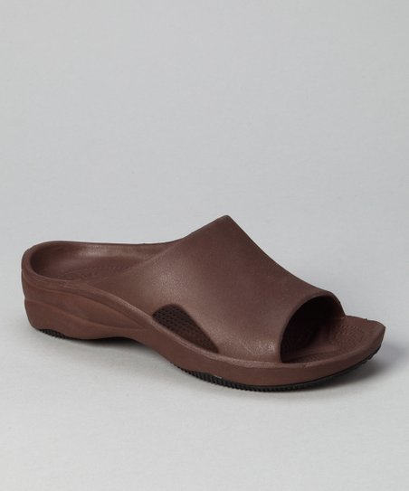 Dark Brown & Black Slide - Women